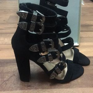 Black suede buckle block heel